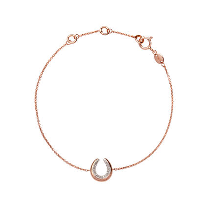 Ascot Diamond Essentials 18kt Rose Gold Vermeil Horseshoe Bracelet, , hires
