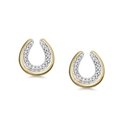 Diamond Essentials 18K Yellow Gold Vermeil Horseshoe Earrings, , hires