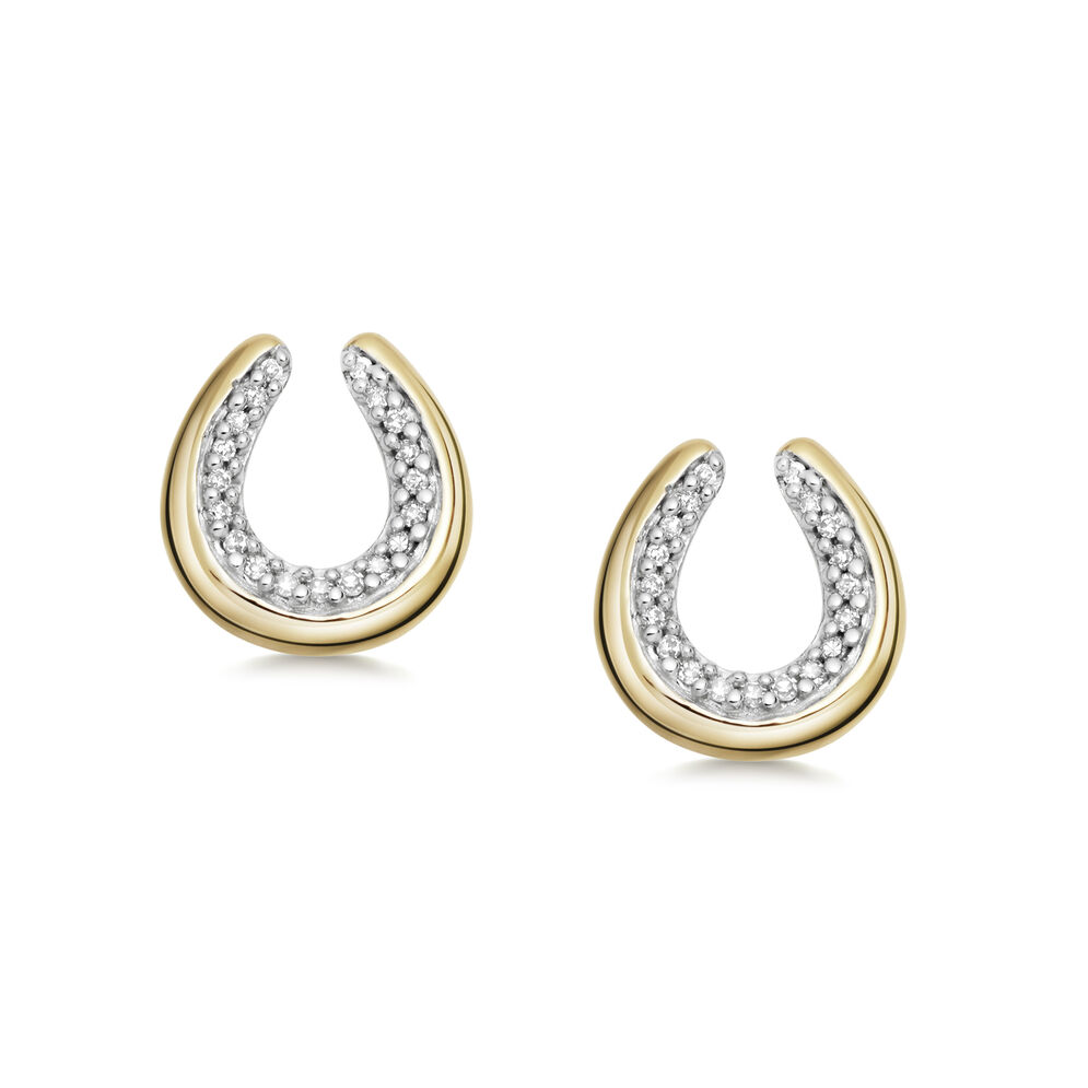 Ascot Diamond Essentials 18kt Yellow Gold Vermeil Horseshoe Earrings, , hires