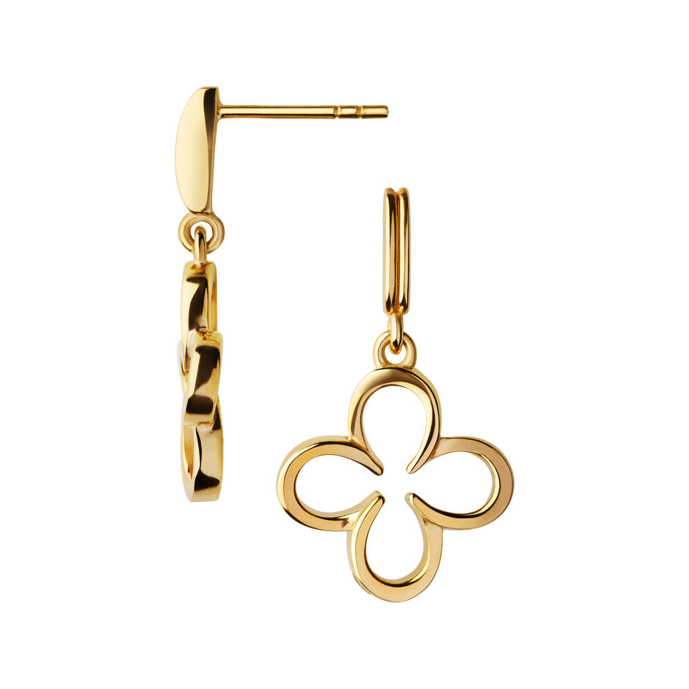 Ascot 18kt Yellow Gold Vermeil Lucky Clover and Horseshoe Earrings, , hires
