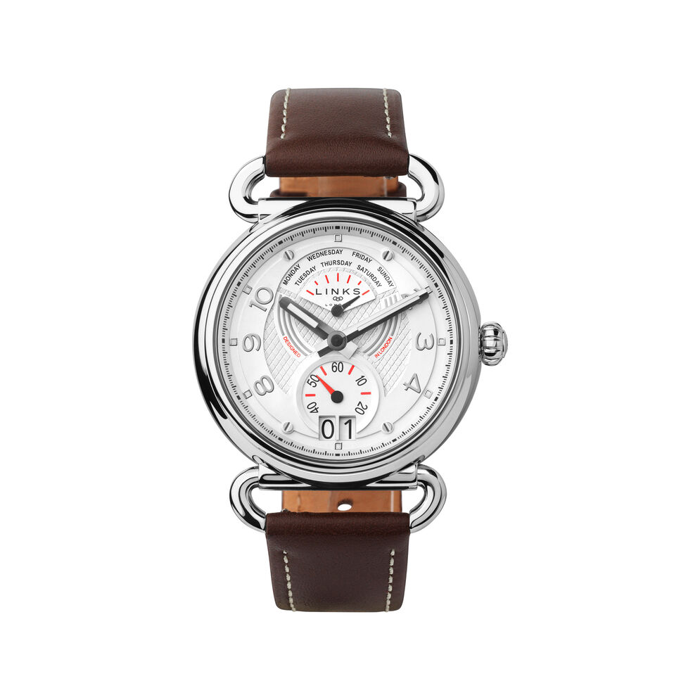 Driver Dashboard Stainless Steel & Brown Leather Watch, , hires