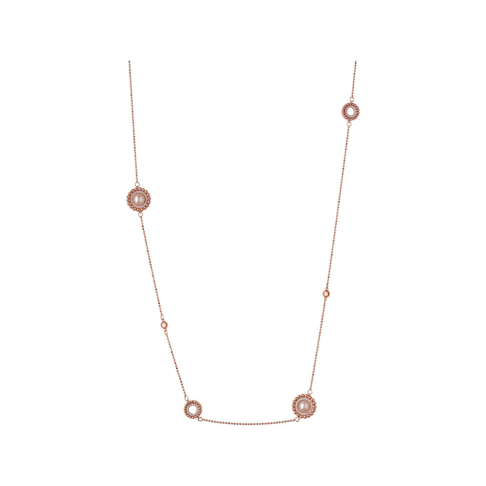 Effervescence 18kt Rose Gold, Diamond & Pearl Station Necklace, , hires
