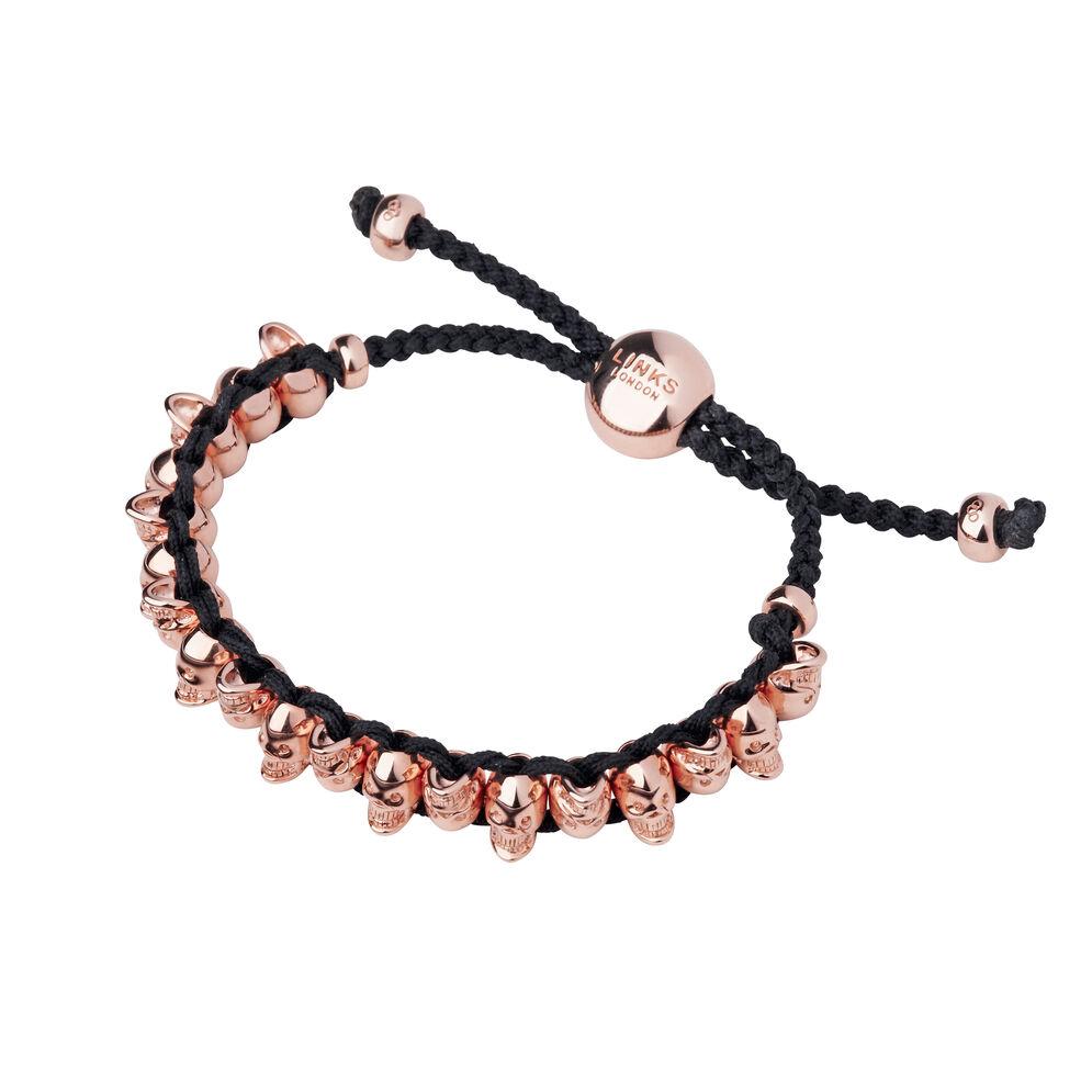 18ct Rose Gold Vermeil Skull Friendship Bracelet, , hires