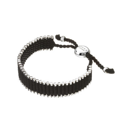 Black Friendship Bracelet - wide, , hires