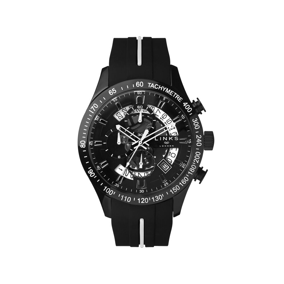 Skeleton Black Rubber Strap Chronograph Watch, , hires