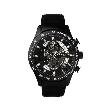 Skeleton Black Leather Chronograph Watch, , hires