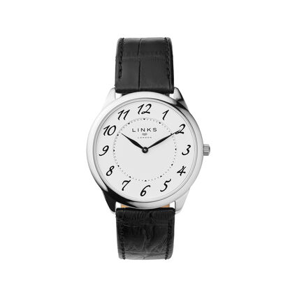 Narrative Mens Stainless Steel & Black Leather Watch, , hires