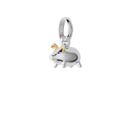 Sterling Silver & 18kt Yellow Gold Vermeil Chinese Zodiac Pig Charm, , hires