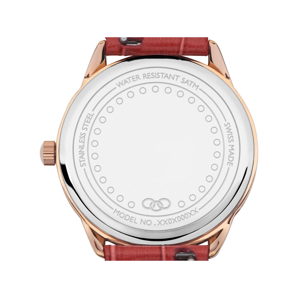 Narrative Rose Gold Plate & Red Leather Watch, , hires