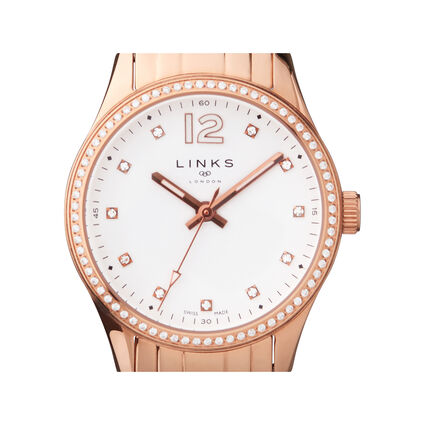 Greenwich Womens Rose Gold Tone & Crystal Watch, , hires