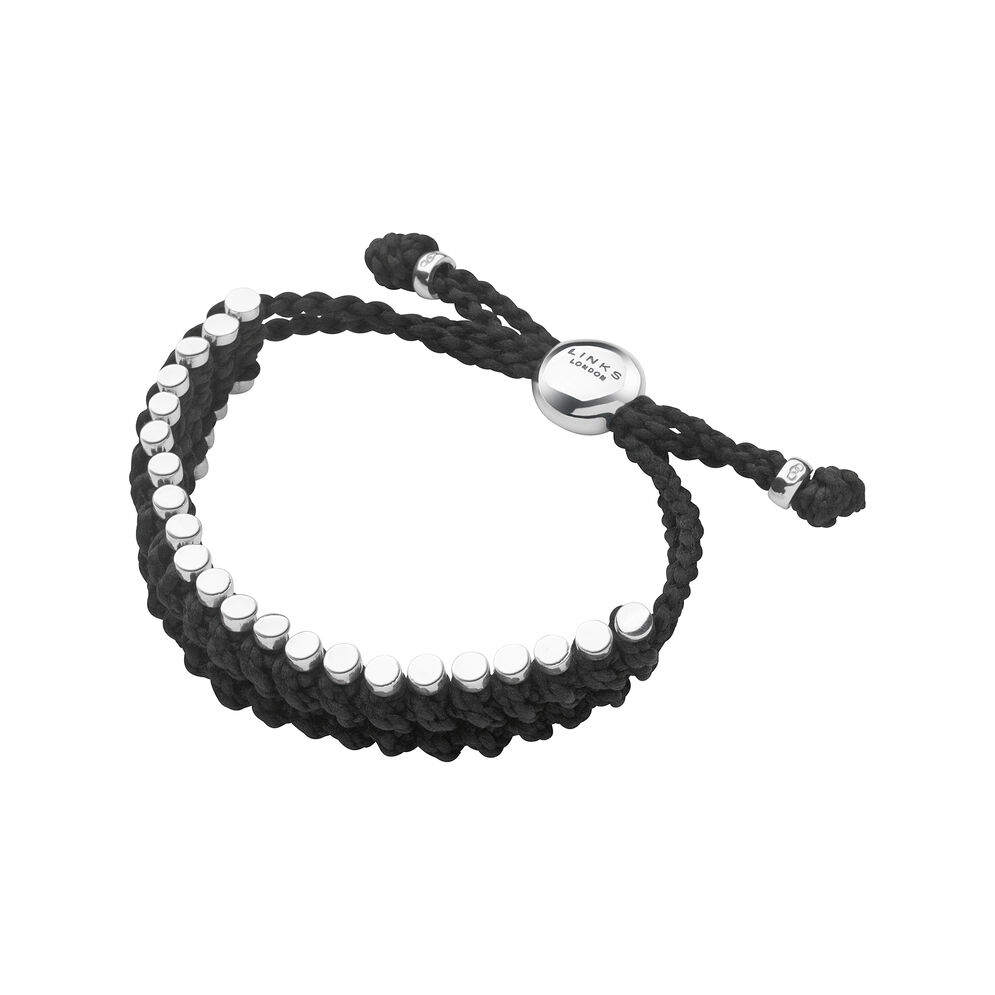 Friendship Mens Sterling Silver & Black Cord Rope Bracelet, , hires