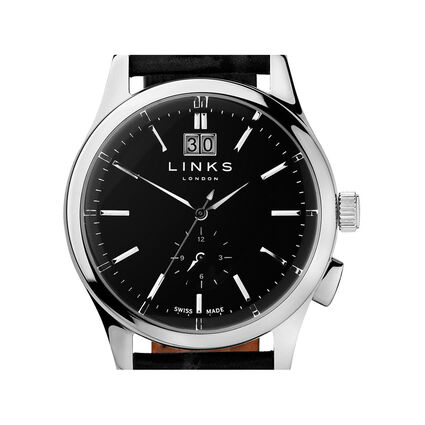 Regent Mens Black Dial Stainless Steel & Black Leather Watch, , hires