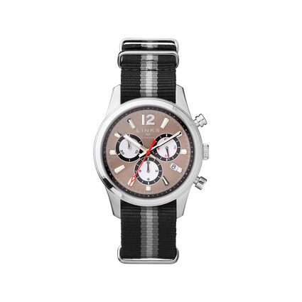 Greenwich Noon Mens Stainless Steel Chronograph Grey Leather Watch, , hires
