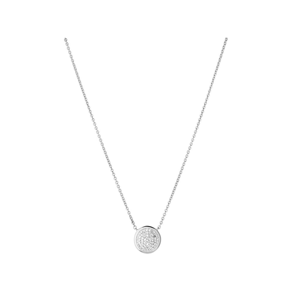 Diamond Essentials Sterling Silver & Pave Round Necklace, , hires