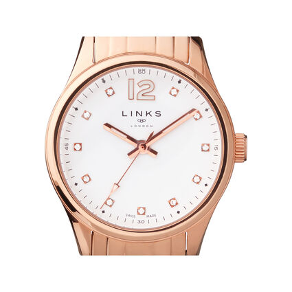 Greenwich Noon Womens Rose Gold Tone Bracelet Watch, , hires