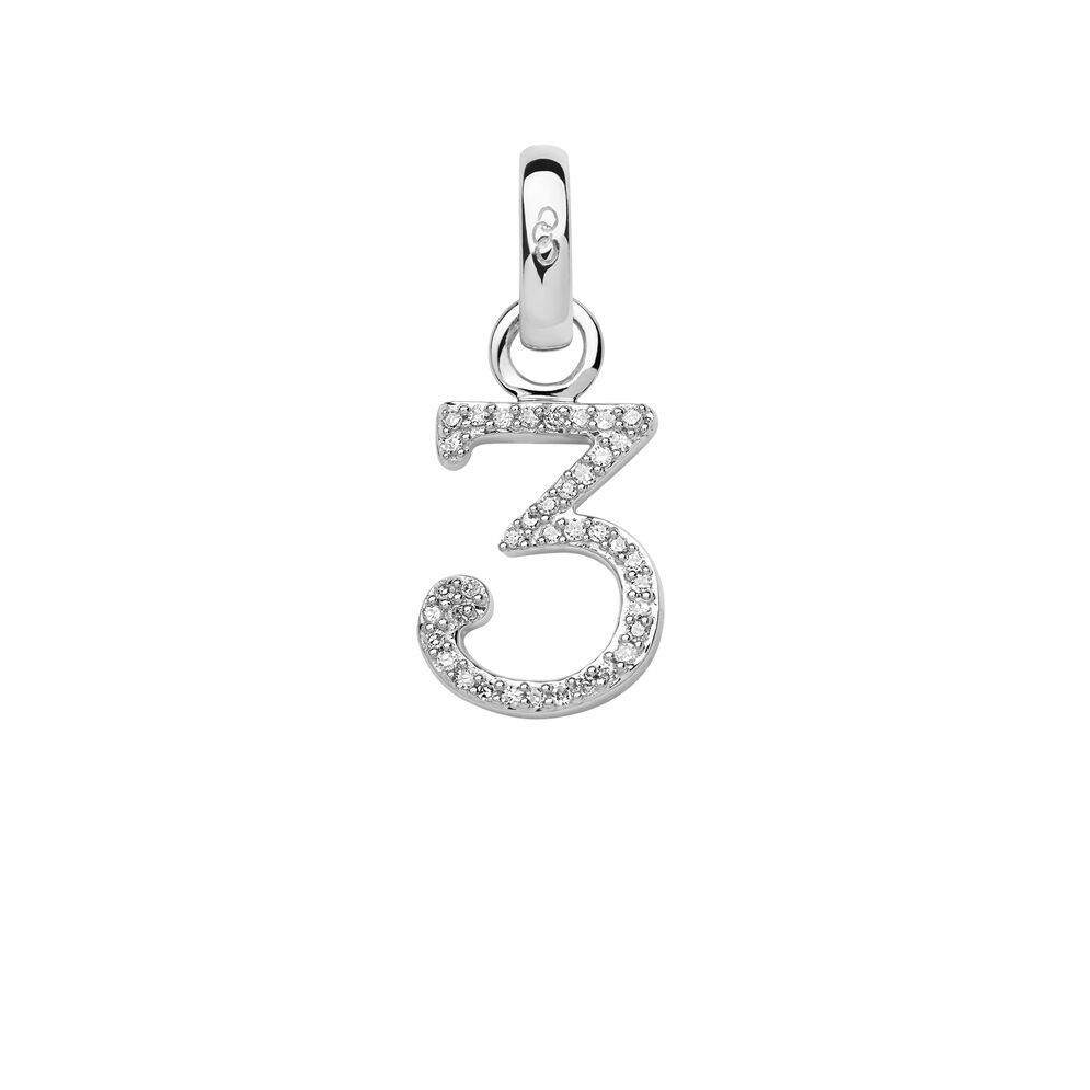 Sterling Silver & Diamond Number 3 Charm, , hires