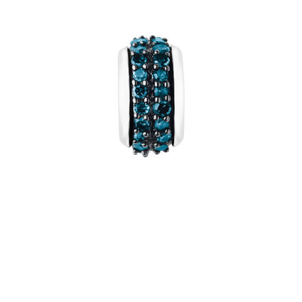 Sweetie Sterling Silver & Blue Diamond Pave Rondelle Bead, , hires