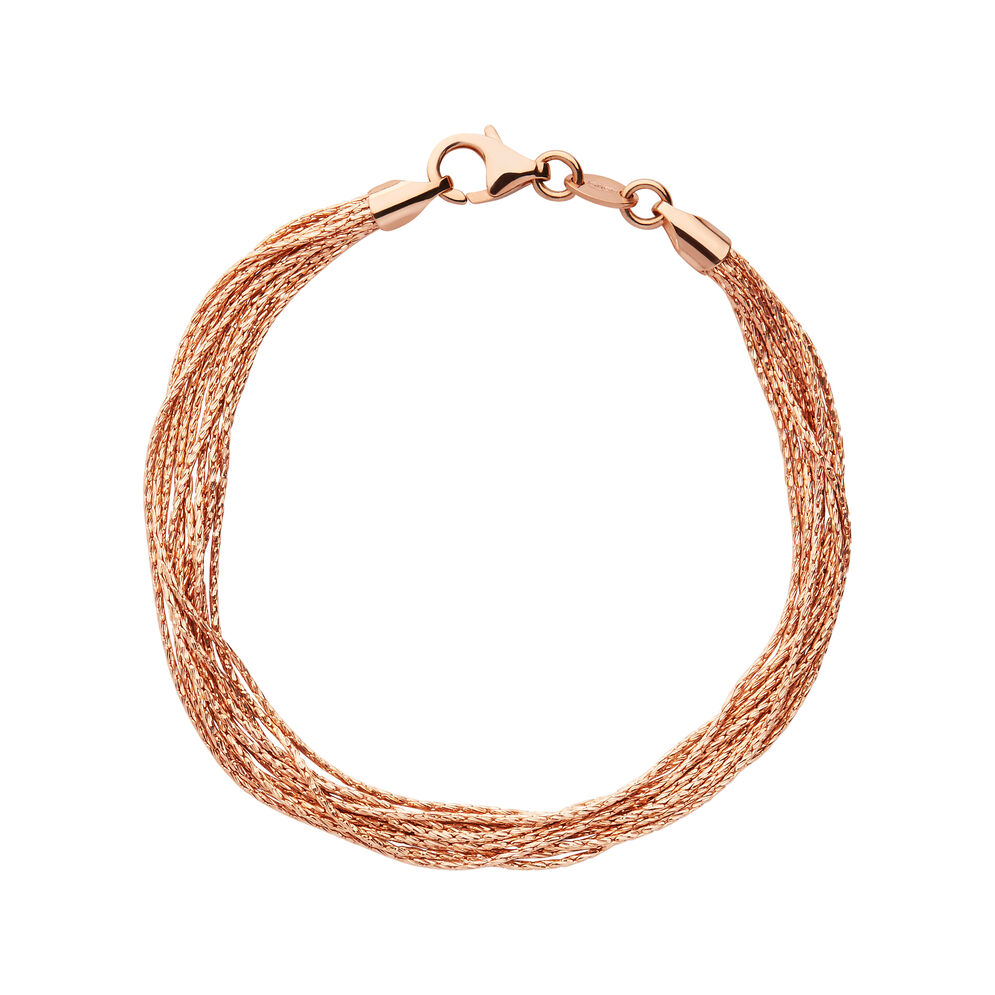 Essentials 18kt Rose Gold Vermeil Silk 10 Row Bracelet - Small, , hires