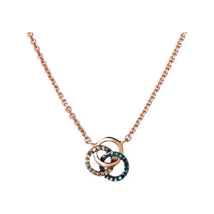 Treasured 18kt Rose Gold Vermeil, Champagne & Blue Diamond Necklace, , hires