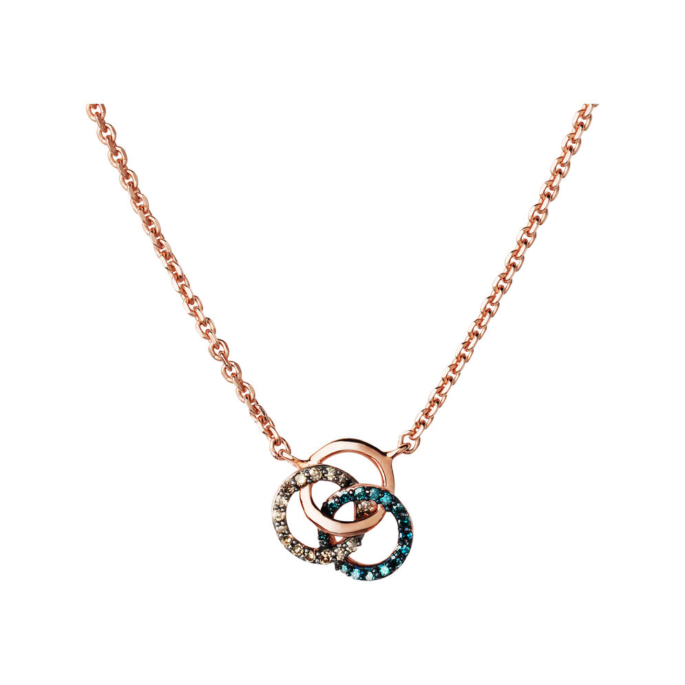 Treasured 18kt Rose Gold Vermeil, Champagne & Blue Diamond Necklace, , hires