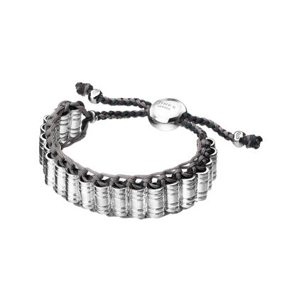 Venture Mens Sterling Silver & Woven Cord Bracelet, , hires