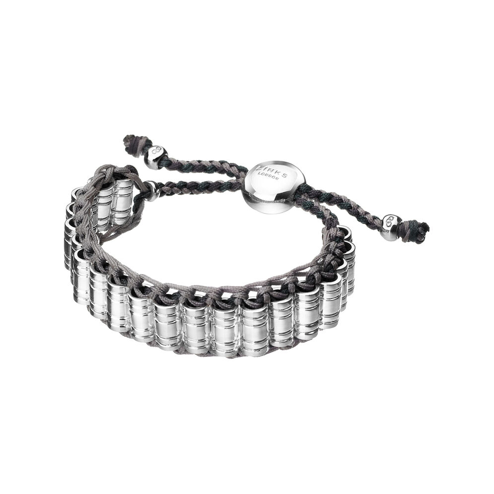 Venture Mens Sterling Silver & Woven Cord Bracelet, , hires