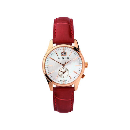 Regent Womens Rose Gold Plate Mother of Pearl & Red Leather Watch, , hires