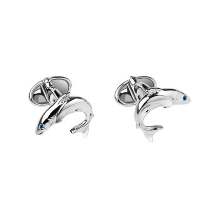 Sterling Silver & Sapphire Heritage Salmon Cufflinks, , hires