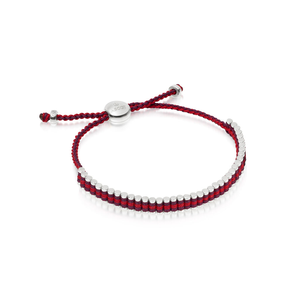 Ascot Sterling Silver, Red & Purple Cord Mini Friendship Bracelet, , hires
