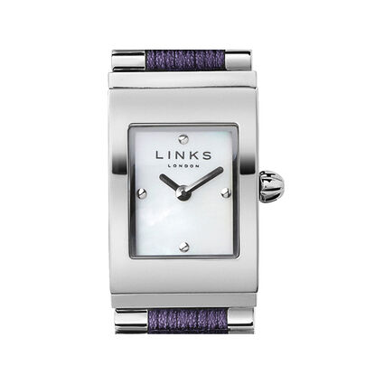 Friendship Sterling Silver & Purple Cord Rectangular Watch, , hires