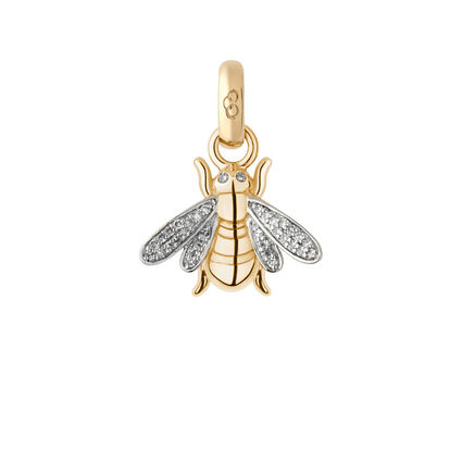 18kt Yellow Gold & Diamond Bee Charm, , hires