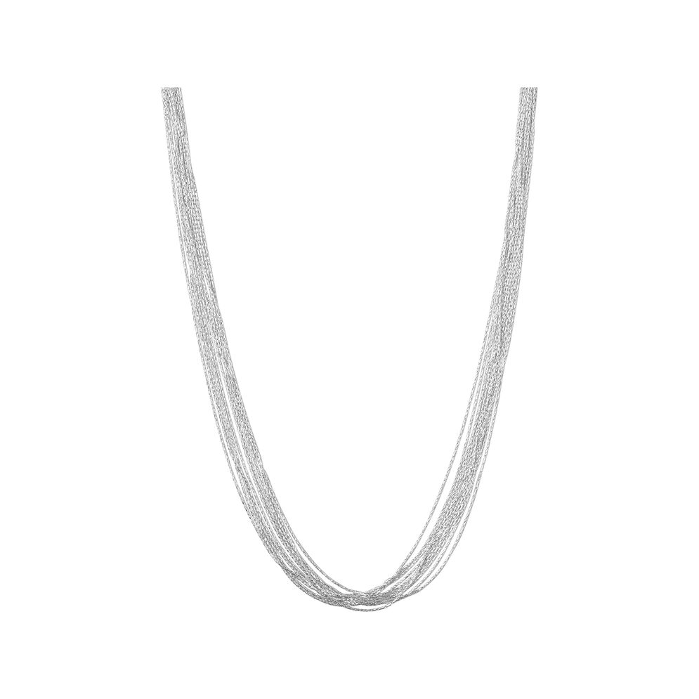 Essentials Sterling Silver Silk 10 Row Necklace 45cm, , hires