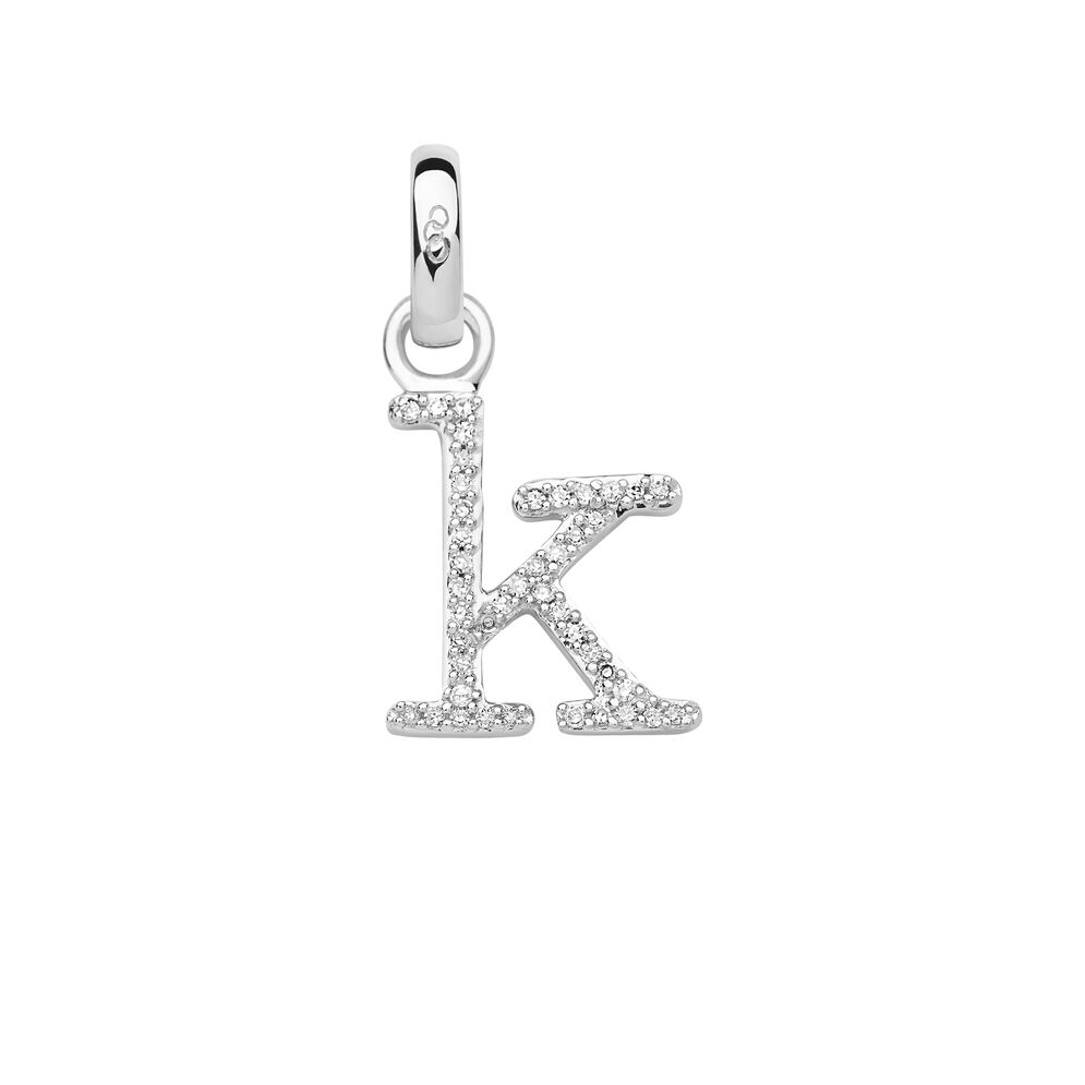 Sterling Silver & Diamond K Alphabet Charm, , hires