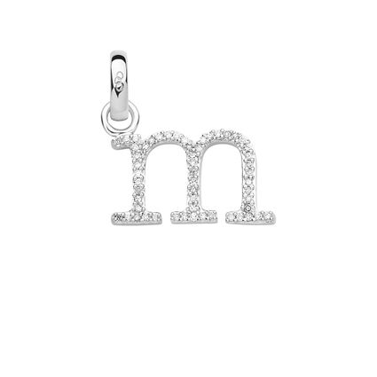 Sterling Silver & Diamond Letter M Charm, , hires