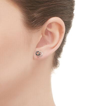 Treasured Sterling Silver, White & Blue Diamond Stud Earrings, , hires