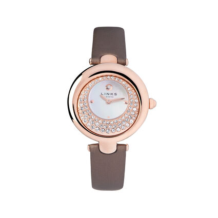 Hope Rose Gold Plate Bronze Crystal Watch, , hires