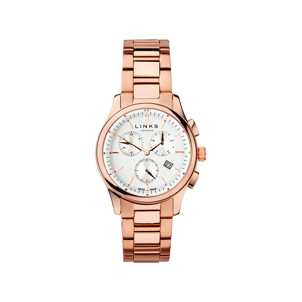 Regent Mens Rose Gold Plate Chronograph Bracelet Watch, , hires