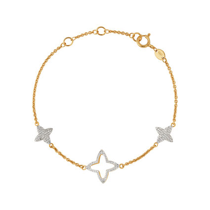 Splendour 18kt Yellow Gold Vermeil & Diamond Four-Point Star Station Bracelet, , hires