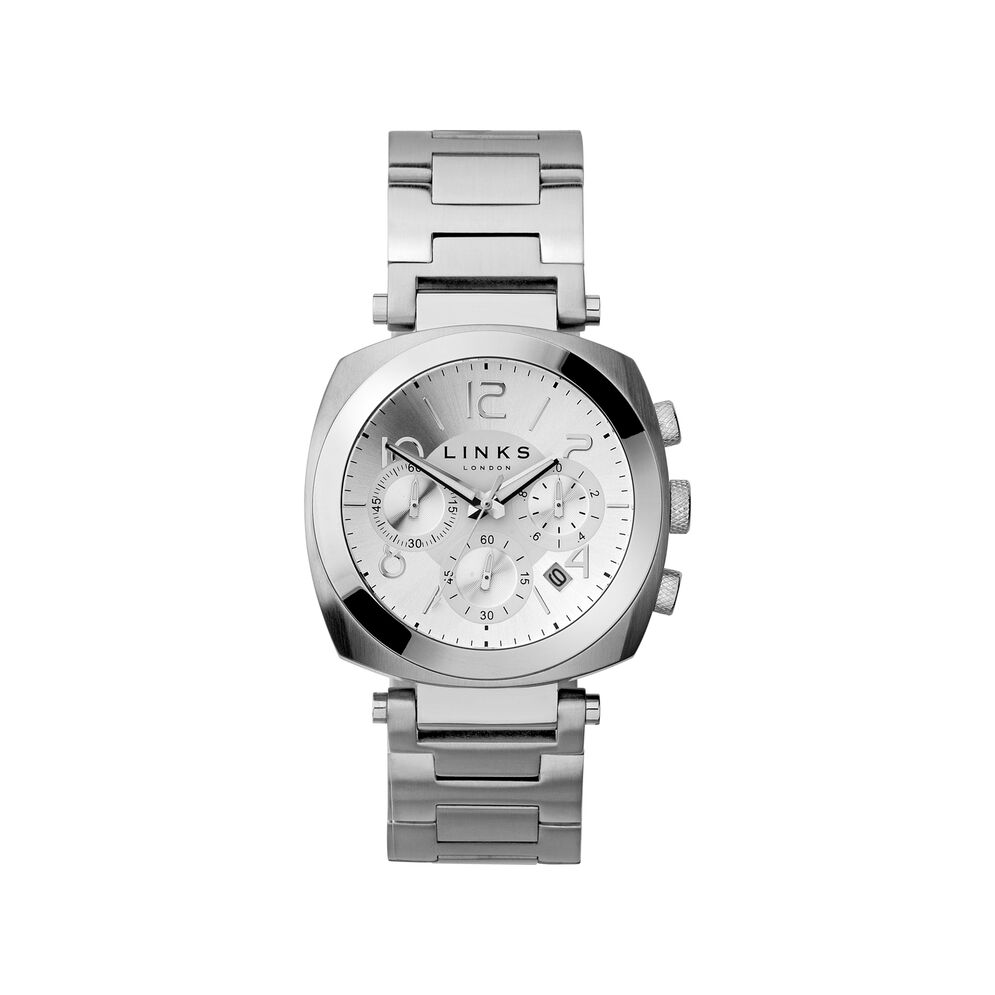 Brompton Mens White Dial Stainless Steel Chronograph Bracelet Watch, , hires