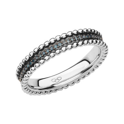 Effervescence Sterling Silver & Blue Diamond Band Ring, , hires