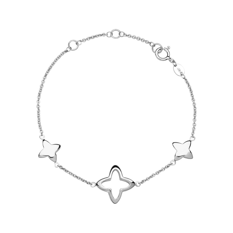 Splendour Sterling Silver Open Four-Point Star Station Bracelet, , hires