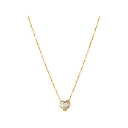 Diamond Essentials 18K Yellow Gold Vermeil & Pave Heart Necklace, , hires