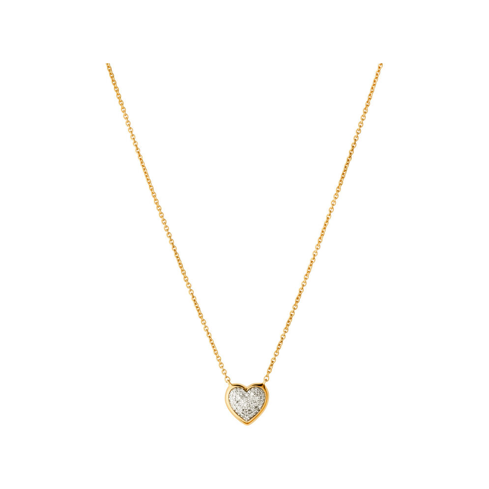 Diamond Essentials 18kt Yellow Gold Vermeil & Pave Heart Necklace, , hires