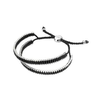 Links of London Friendship Bracelet Mens Sterling Silver & Black Cord Double Wrap , , hires
