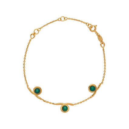 Serpentine 18kt Yellow Gold Vermeil & Green Chalcedony Gemstone Bracelet, , hires