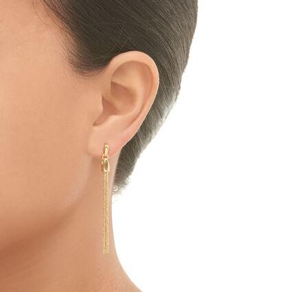 Essentials 18kt Yellow Gold Vermeil Silk Row Earrings, , hires