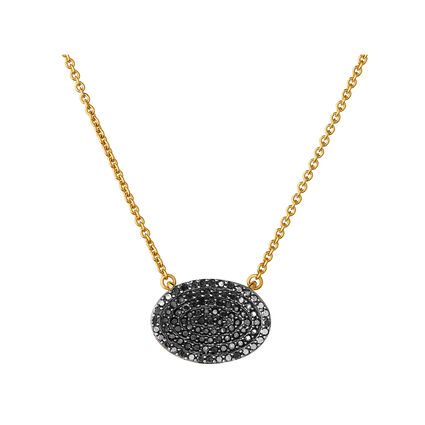 Concave 18K Yellow Gold Vermeil & Black Diamond Necklace, , hires