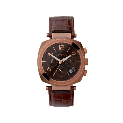 Brompton Mens Brown Stainless Steel & Brown Leather Chronograph Watch, , hires