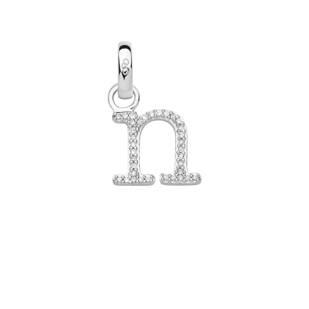 Sterling Silver & Diamond Letter N Charm, , hires