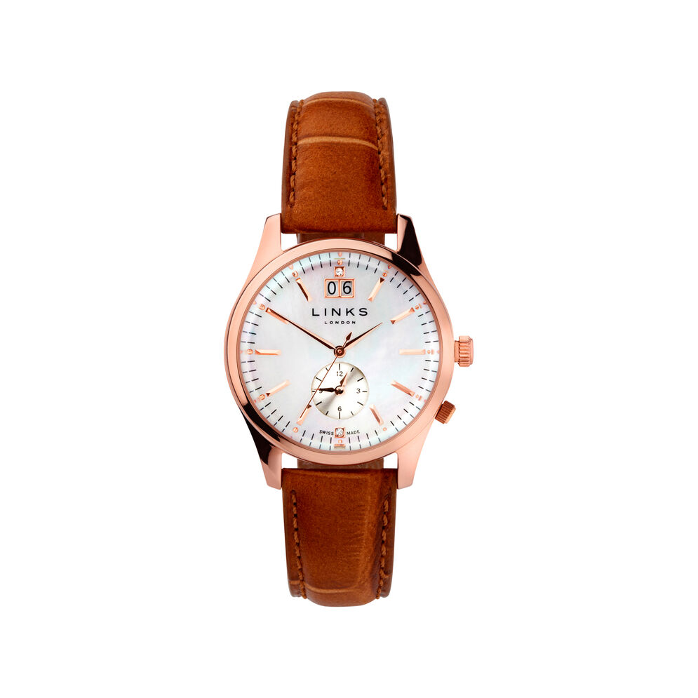 Regent Womens Rose Gold Plate Mother of Pearl & Toffee Leather Watch, , hires